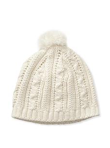 Chloe Girl's Knit Beanie Hat (Ivory)
