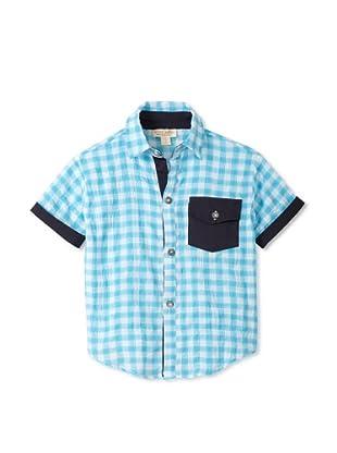 Upper School Checker Plaid Button-Up (Aqua)