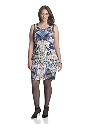Single Plus Women's Mirror Print Dress (Blue)