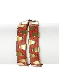 Rebecca Minkoff Burnt Orange Double-Wrap Stapled Bracelet