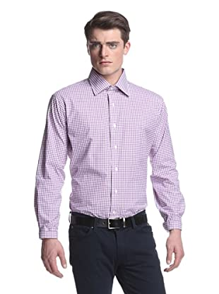Oxxford Men's Spread Collar Dress Shirt (Purple/Gingham)