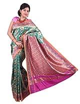 Mimosa Women Kanchipuram Multi Art Silk Saree with Blouse (3020-02-Rama-Rani,  Green)