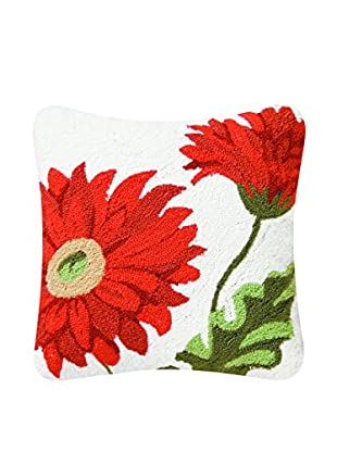 Lilly Hooked Gerbera Daisy Pillow, Red Multi