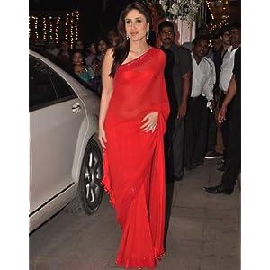 Hottest Kareena Bollywood Replicas Red Chiffon Saree