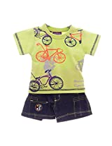 Chocolate BabyMount Cycling Half Pant Set Red 6-12 Months