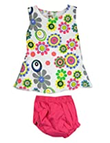 Ssmitn Baby Wear Flowers Everywhere Pink Printed Frock With Bloomer For Girls
