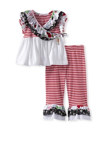 Baby Nay Ruffle Kimono Top with Leggings (Crayon Heart)