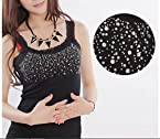 Free Size Vest Lace Collar Bling Tank Sleeveless Tops Black