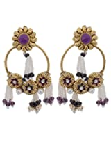 Hyderabadi Abhushan earrings with flower shaped purple color pearls