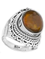 Exotic India Amber Ring with Filigree - Sterling Silver Ring Size 7