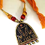 Copper bronze and gold embossed terracotta pendant with gold and rust silk beads