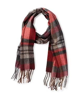 a & R Cashmere Women's Waterweave Cashmere Check Scarf, Crimson/Black/Grey/Camel