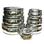 Saleshop365 Set Of 7 Stainless Steel Round Container / Puri Dabba
