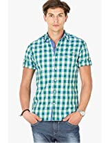 Green Check Regular Fit Casual Shirt Mufti