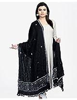 Fabindia Cotton Mull Chikankari Palla Crinkle Dupatta-Black/White