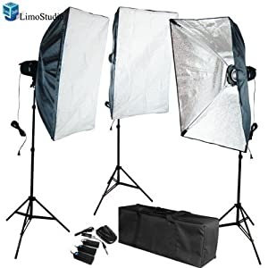 LimoStudio Photo Video Studio Flash light Umbrella Kit 1 x Reflector Umbrella 1 x Diffuser Umbrella 2 x Light Stand with Light & Umbrella Holder Clamp 2 x 45 Watt Bulbs AGG395 540W Flash Strobe Lighting Kit AD