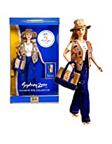 Mattel Year 1999 Barbie Collector Edition Series 12 Inch Doll Sydney 2000 Barbie With Official Sydney 2000 Olympic Pin, Vest, T Shirt, Pants, Hat, Tote Bag, Shoes, Earrings, Doll Stand And Certificate Of Authenticity