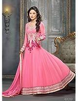 Beautiful fancy Blue Pink Color Embriodered Anarkali salwar suit