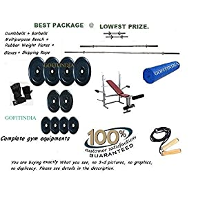 68 Kg Rubber Weight Plates + 5 Ft Rods + 3 Ft Curl Bar + 2 Dumbbell Rods +Kamachi Bench