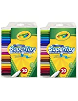 Crayola 20ct Washable Super Tips (5 Fun-Scented Markers Included) 2 Pack