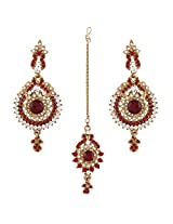 I Jewels Traditional Gold Plated Elegantly Handcrafted Earring Set with Maang Tikka using Austrian Diamonds for Women TE115R (Red)