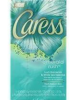 Caress Beauty Bar, Emerald Rush Lush Gardenia & White Tea Essence 4 oz, 6-Bar