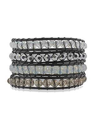 Lucie & Jade Echtleder-Armband Glaskristall schwarz/silber/anthrazit