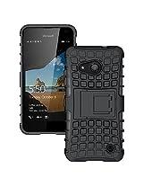 Microsoft Lumia 550 Case, Ziaon (TM) Flip Kickstand Rugged Dual Layer Hybrid Case for Microsoft Lumia 550 - Black (Free Screen Guard)