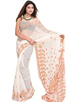 Exotic India Egret-White Saree from Lucknow with Chikan Hand-Embroidered - White