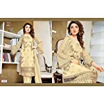 Off-white Floral Georgette Dress Material With Dupatta