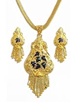 DollsofIndia Gold Plated Chain with Meenakari Pendant and Earrings - Metal - Golden