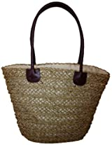 LadyBagsSF Straw Shopping Tote Bag with Leather Handles