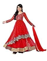 Clickedia Women Red - Dress Material