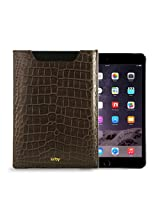 Gogappa 10 inch iPad Air Sleek Croc Embossed Rich Leather Sleeve Pouch Case Cover (Brown)