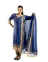 Kaalika Women's Silky Slub Salwar Suit (K-780-Freesize-Blue _Blue _Free Size)