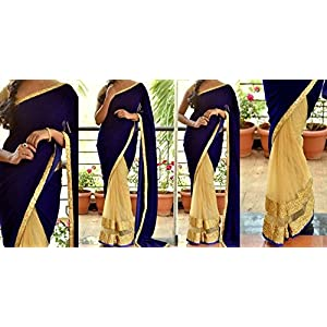 Get Style at Home   Half n Half Saree - Blue & Golden