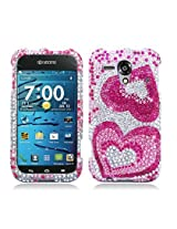 Aimo KYOEDGEPCLDI676 Dazzling Diamond Bling Case for Kyocera EDGE - Retail Packaging - Two Hearts Pink