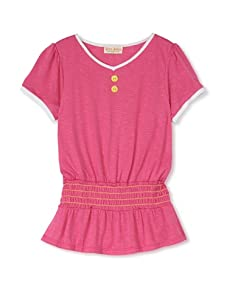 Upper School Girl's Shirred Knit Top (Magenta)