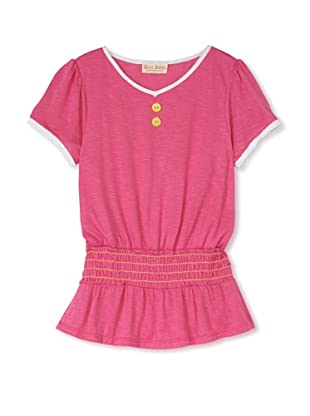 Upper School Girl's Shirred Knit Top (Magenta)