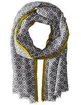 Saro Lifestyle Women's Ikat Design Shawl, Grey, One Size