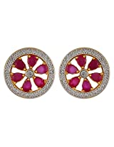 Affinity Red Floral Stud Earring