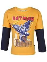Cucumber Full Sleeves T-Shirt Batman Print - Mango Color