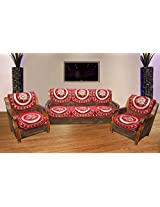 Hargunz Floral maroon 5 seater sofa cover set