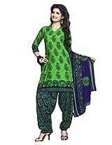Jevi Prints Green & Blue Art Crepe Dress Material with Dupatta