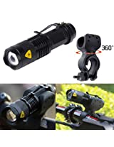 ZOOMABLE CYCLE HEAD LIGHT LED FLASHLIGHT CREE Q5 WITH HIGH QUALITY HOLDER