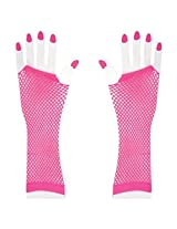 Long Neon Fishnet Fingerless Wrist Gloves Party Accessory - Neon Pink