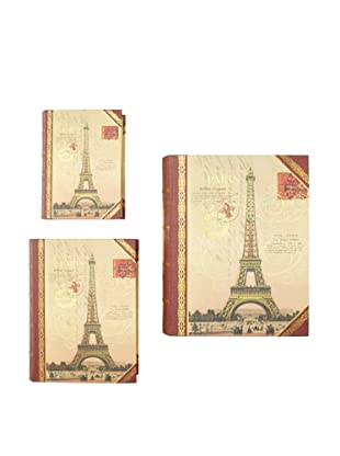 Punch Studio Set of 3 Large Nesting Book Boxes, Paris
