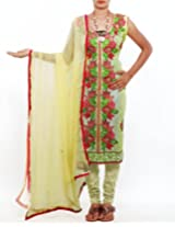 Unnati Silks Women Semi stitched cream tussar silk embroidery chudidar