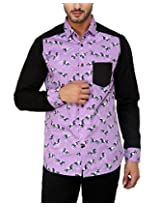See Designs Men Buttoned Shirt (SDMDWSS15SH626_L, Purple, L)