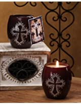 DecoGlow Rustic Mission Collection 3-Inch Brown Glass With Rhinestone Cross Filled Candle